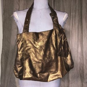 Banana Republic Brushed metallic gold leather bag